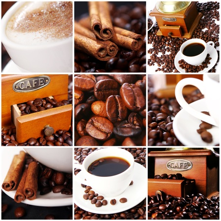 Collage of different photos with coffee photo