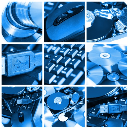 disco duro: Collage de equipo diferentes dispositivos y equipos Foto de archivo