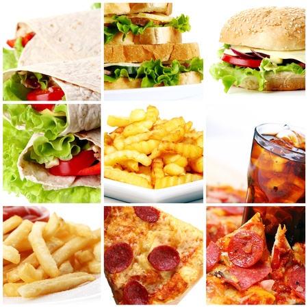 fast meal: Collage of different fast food products