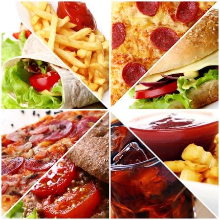comida chatarra: Collage de productos diferentes de comida rápida