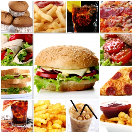 Collage of different fast food products with big cheeseburger in center photo