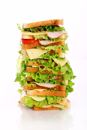 Very big sandwich isolated over white background Stock Photo - 10054314