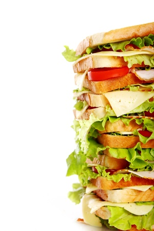 Very big sandwich isolated over white background Stock Photo - 10054306