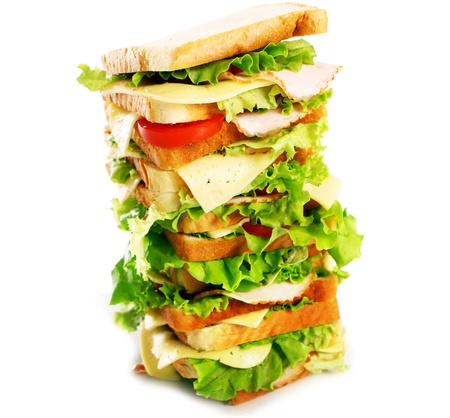Very big sandwich isolated over white background Stock Photo - 10053704