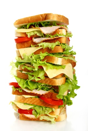 biggest: Very big sandwich isolated over white background