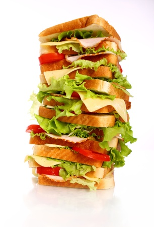 ham sandwich: Very big sandwich isolated over white background