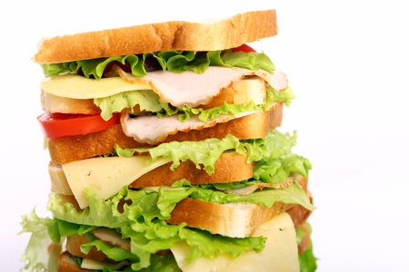 Very big sandwich isolated over white background Stock Photo - 10053764