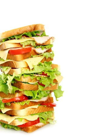 Very big sandwich isolated over white background Stock Photo - 10054313