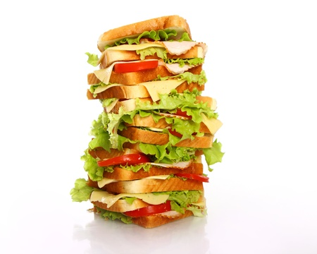 Very big sandwich isolated over white background Stock Photo - 10053699