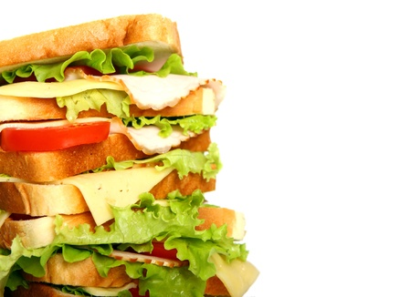 Very big sandwich isolated over white background Stock Photo - 10054305