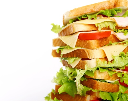 Very big sandwich isolated over white background Stock Photo - 10054308