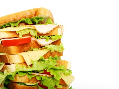 Very big sandwich isolated over white background Stock Photo - 10054307