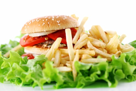 cheeseburger with fries: Big and tasty burger with fires on the salad leaves