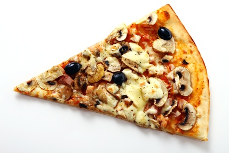 Slice of fresh pizza with olives and mushrooms isolated on white background photo