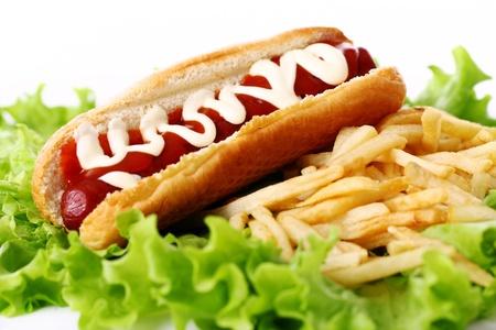 mahonesa: Fresca y sabrosa hot dog con patatas fritas en las hojas de ensalada Foto de archivo