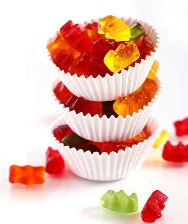 gummie: Colorful gummy bear candies over white background