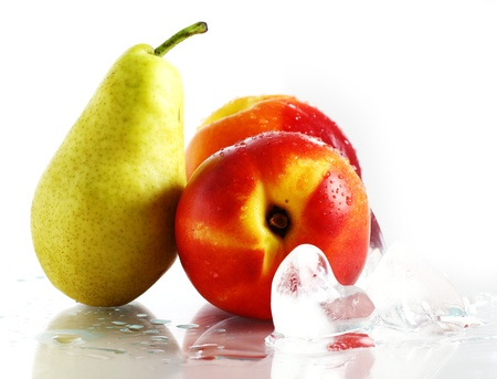 Fresh and wet fruits and ice isolated over white Stock Photo - 10279868