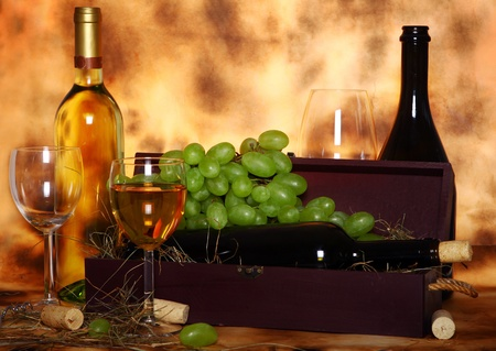 Beautiful wine composition against old texture background Stock Photo - 10394690