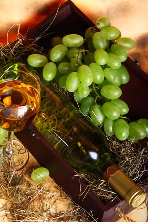 Beautiful wine composition against old texture background Stock Photo - 10394712