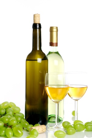 Wine composition on the table isolated over white photo