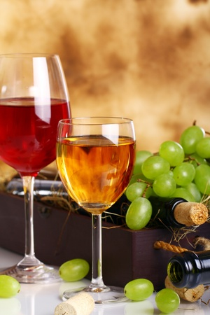 Beautiful wine composition against old texture background photo