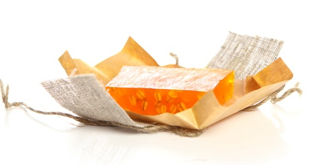 sud: Natural soap on white background