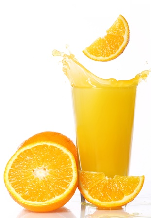 Fresh and cold orange juice against white background Stock Photo - 10504817
