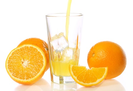 Fresh and cold orange juice against white background photo