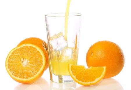 Fresh and cold orange juice against white background photo