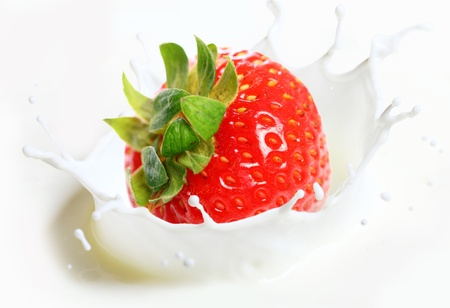 Strawberry falling into milk with splashes photo