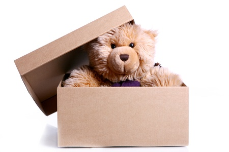 playthings: Cute Teddy Bear in the gift box against white background Stock Photo