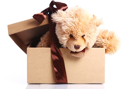 Cute Teddy Bear in the gift box against white background Stock Photo
