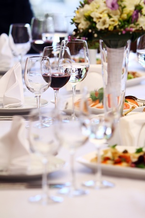 buffet table: Wine glasses on luxury banquet table