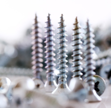 Macro of silver screws photo