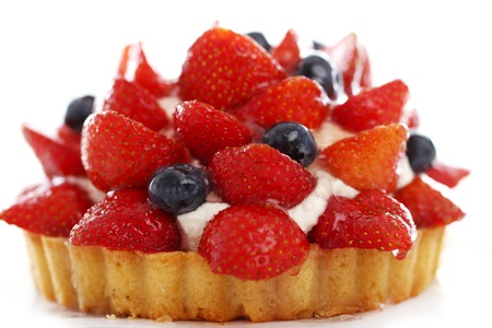 strawberry cake: Fresh and tasty cake with strawberry and blueberry against white background