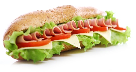 Fresh and tasty sandwich over white background photo