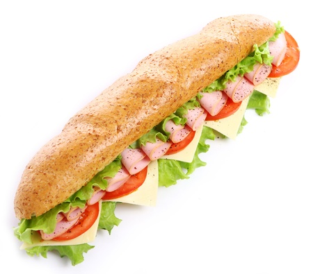 Fresh and tasty sandwich over white background Stock Photo - 10630265