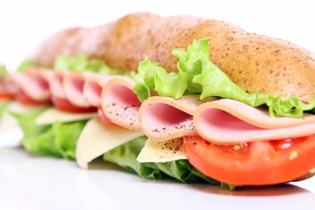 breakfast sandwich: Fresh and tasty sandwich over white background