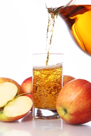 Fresh and cold apple juice against white background photo