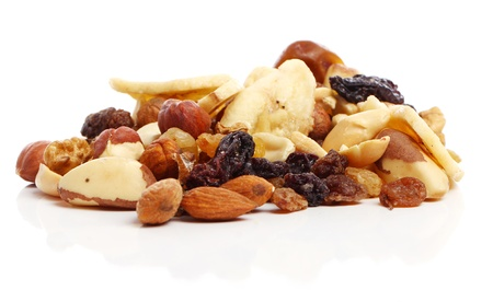 Different dried fruits against white background Stock Photo