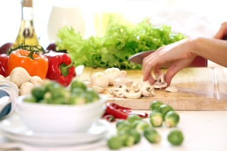 yummy: Healthly food on the table in the kitchen Stock Photo