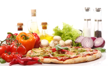 Fresh and tasty pizza on kitchen table Stock Photo - 10883368