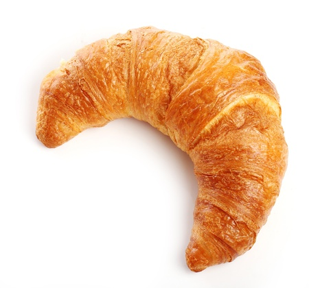 french bread rolls: Fresh and tasty croissant over white background