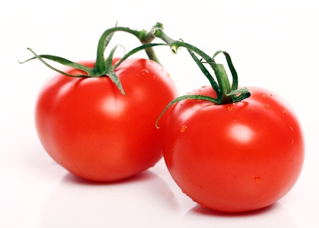 Fresh and tasty tomatoes over white background photo