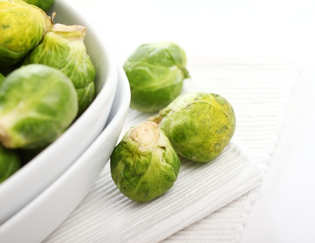 Close up of brussels sprouts in the plate photo