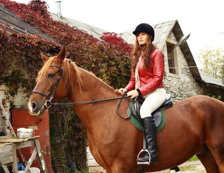 bridle: Woman and her beautiful  brown horse