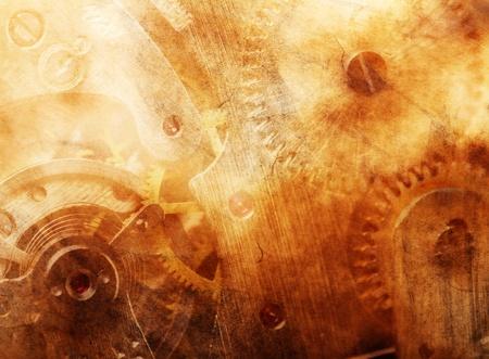 reloj antiguo: Antecedentes del antiguo mecanismo de Foto de archivo