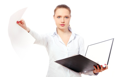 Young business woman with folders against white background photo