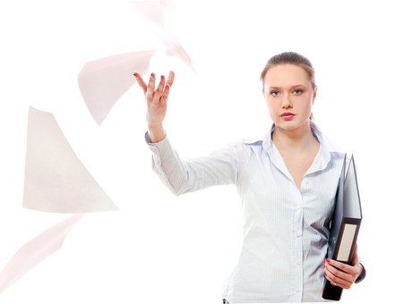 Young business woman with folders against white background Stock Photo - 11501318