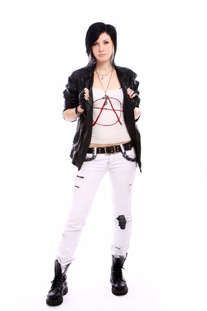 Young punk girl over white background photo